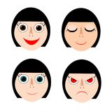 Lady faces in smiling, sleeping, normal, and angry expressions. Vector illustration. Flat design EPS10 vector illustration and isolated on white background stock illustration