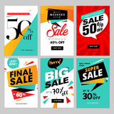 Flat design eye catching sale website banners for mobile phone Royalty Free Stock Photo