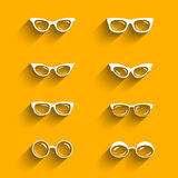 Flat design eyeglasses vector set with shadows. Retro, hipster styles Stock Photography