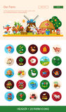 Flat design farm, agriculture icons and elements with header Royalty Free Stock Photo