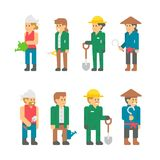Flat design farmers set. Illustration vector Stock Photography