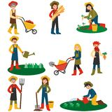 Flat design farmers set illustration vector. Farmer harvesting crop. royalty free illustration
