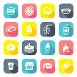 Flat Design Fast Food Restaurant Icons Stock Images