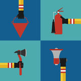 Flat design fire fighting concept set. Flat Modern design fire fighting concept set Royalty Free Stock Photo