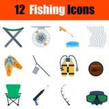Flat design fishing icon set Royalty Free Stock Images