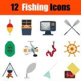 Flat design fishing icon set Royalty Free Stock Photos