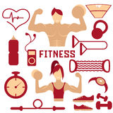 flat design of fitness with guy ,girl and web icons of fi Royalty Free Stock Image