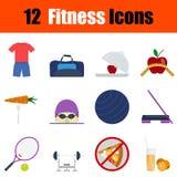 Flat design fitness icon set Stock Photos