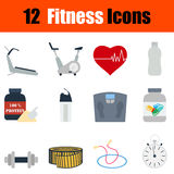 Flat design fitness icon set Royalty Free Stock Photography