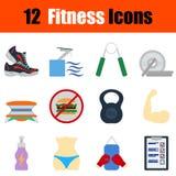 Flat design fitness icon set Stock Images