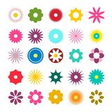 Flat Design Flowers Icons. Vector Flowers Set. Flat Design Flowers Icons. Vector Simple Flowers Set stock illustration