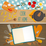 Flat design food and cooking banner Stock Photos
