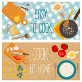Flat design food and cooking banner Royalty Free Stock Photography