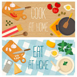 Flat design food and cooking banner Royalty Free Stock Image