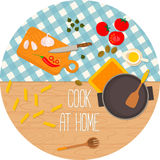 Flat design food and cooking round banner. Royalty Free Stock Images