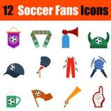 Flat design football fans icon set Royalty Free Stock Photos