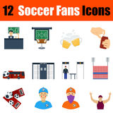 Flat design football fans icon set Royalty Free Stock Photo