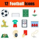 Flat design football icon set Royalty Free Stock Photos
