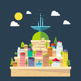 Flat design of fountain city Royalty Free Stock Image