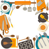 Flat design frame of kitchenware isolated on white Royalty Free Stock Images
