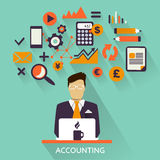 Flat design . Freelance career. Accounting. Flat design . Accounting icons on a colorful background Royalty Free Stock Photo