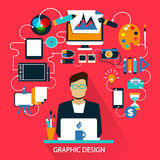 Flat design . Freelance career. Graphic design. Royalty Free Stock Photo