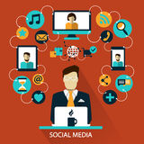 Flat design . Freelance career. Social media. Stock Images