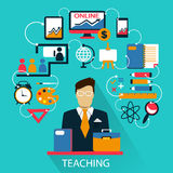 Flat design . Freelance career. Teaching. Flat design . Teaching icons on a colorful background Royalty Free Stock Images