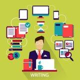 Flat design . Freelance career. Writing. Royalty Free Stock Photos
