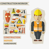 Flat design. Freelance infographic. Construction worker with tools and materials for the repair and construction. Royalty Free Stock Photos