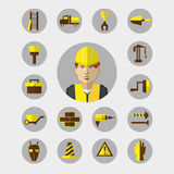 Flat design. Freelance infographic. Construction worker with tools and materials for the repair and construction. Stock Photos