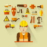 Flat design. Freelance infographic. Construction worker with tools and materials for the repair and construction. Royalty Free Stock Photography