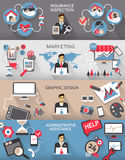 Flat design. Freelance jobs infographic with long shadows. Stock Photography
