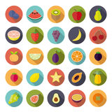 Flat Design Fruit Circular Vector Icon Set Stock Image