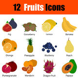 Flat design fruit icon set. With titles in ui colors. Vector illustration Stock Photos