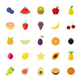 Flat Design Fruit Isolated Vector Icon Set. Collection of 25 flat design fruit icons isolated on white background Royalty Free Stock Images
