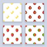 Flat design fruit seamless pattern set icons  line art isolated vector illustration Stock Photography