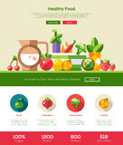 Flat design fruits and vegetables website header with icons Royalty Free Stock Photos