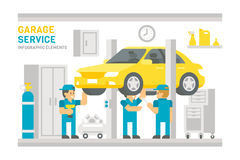 Flat design garage service infographic Royalty Free Stock Images