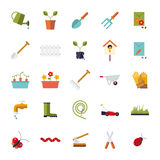 Flat Design Gardening  Icon Set Stock Images