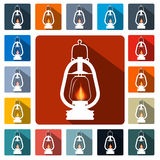 Flat Design Gas Lamps Icon Set Royalty Free Stock Photography