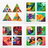 Flat design geometric info banners, web boxes Stock Photos