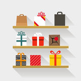Flat design gifts on book shelves. Template for a content vector illustration
