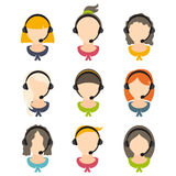 flat design of a girls with headset .Vector illustration royalty free illustration