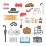 Flat design grandparents items Royalty Free Stock Photos