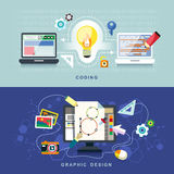Flat design for graphic design and coding Royalty Free Stock Photos