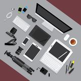 Flat Design. Graphic Designer Workplace concept. Vector Illustration Royalty Free Stock Photography