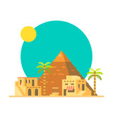 Flat design of Great pyramid of Giza in Egypt Stock Images