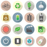 Flat Design Green Concept Icons Stock Images