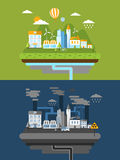 Flat design for green energy and pollution Stock Images